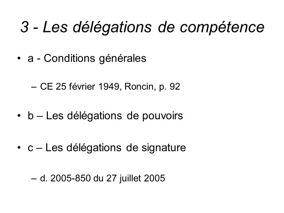 3 - Les délégations de compétence