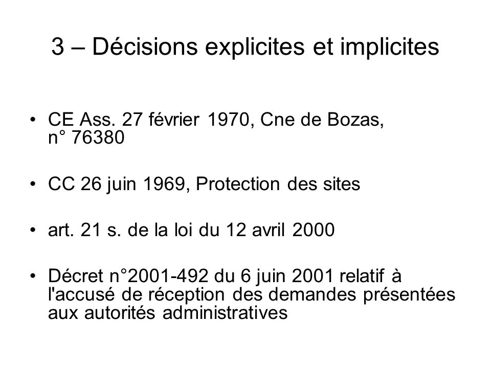 3 – Décisions explicites et implicites