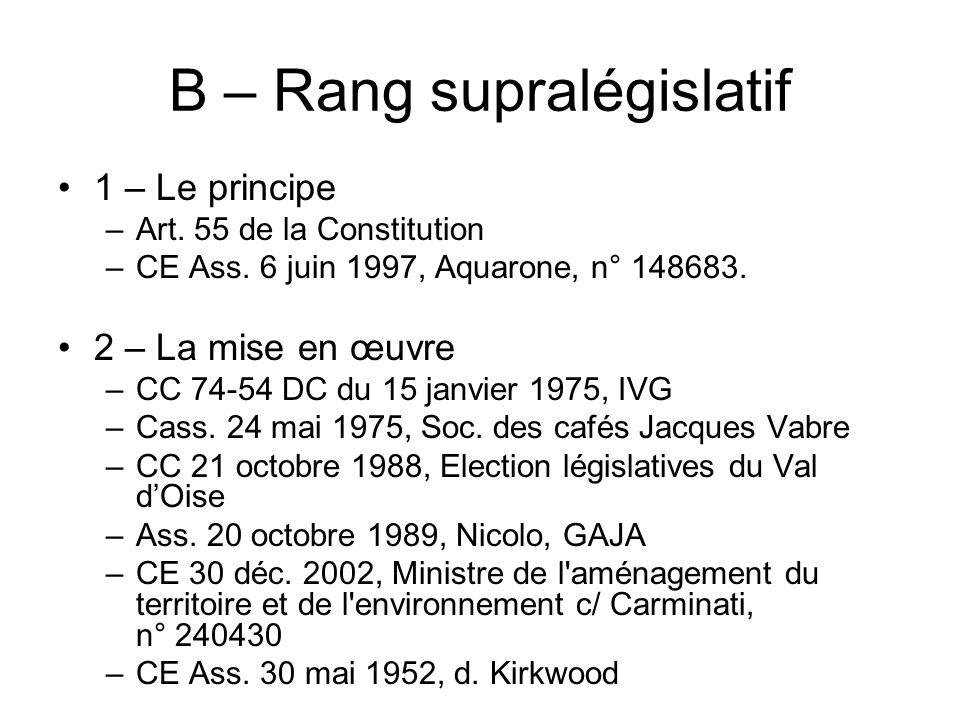 B – Rang supralégislatif