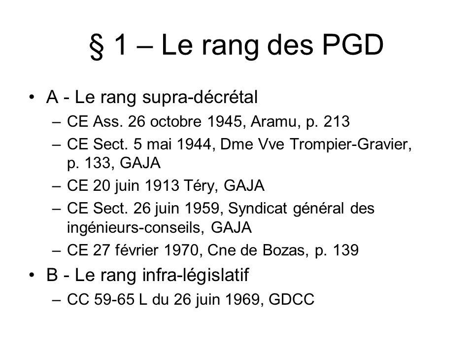 § 1 – Le rang des PGD A - Le rang supra-décrétal
