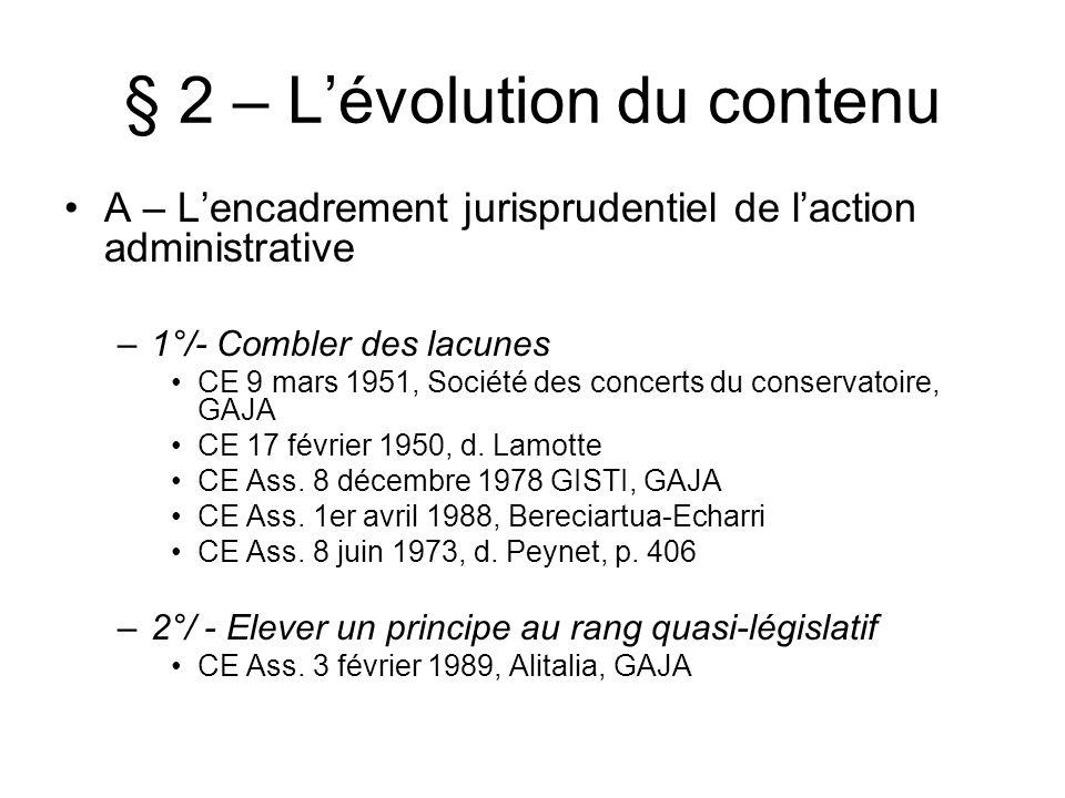 § 2 – L'évolution du contenu