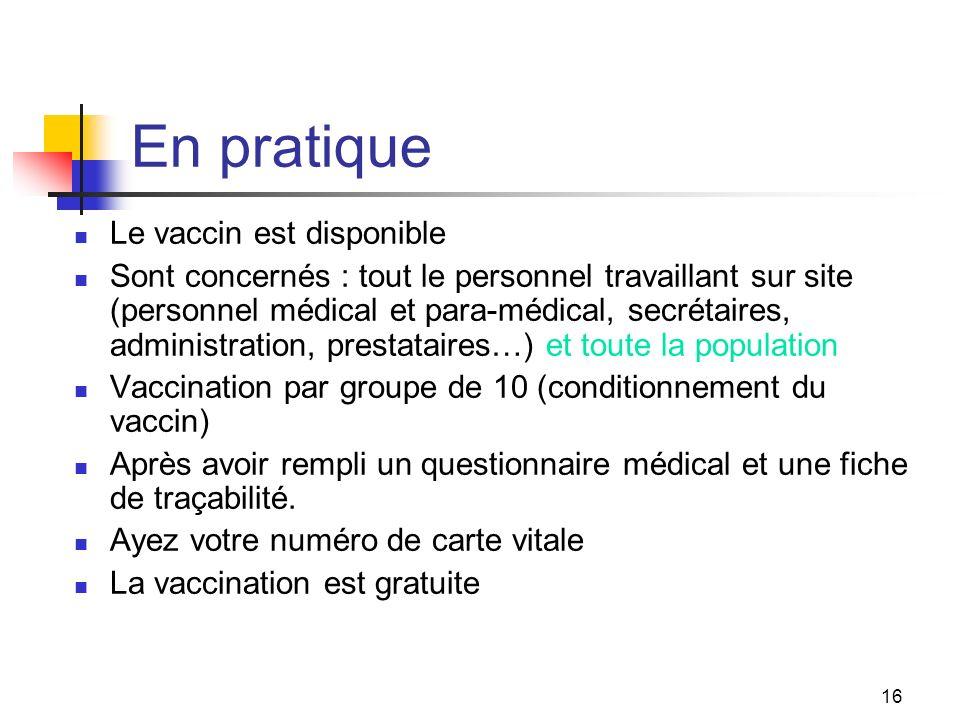 En pratique Le vaccin est disponible