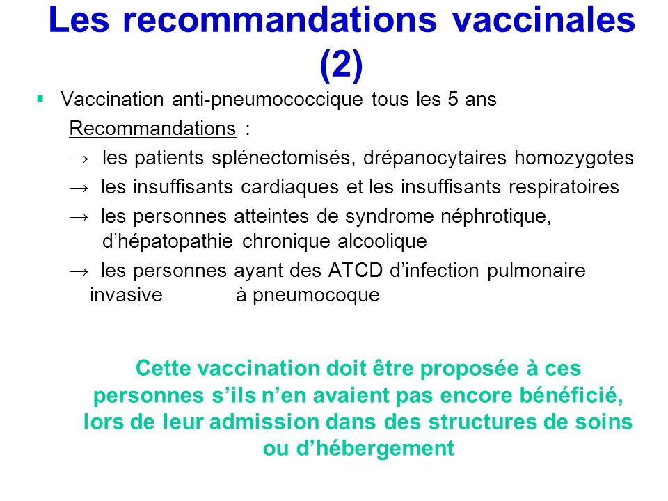 Les recommandations vaccinales (2)
