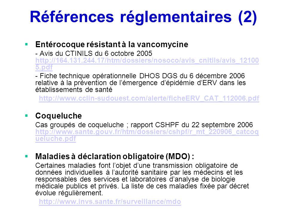 Références réglementaires (2)