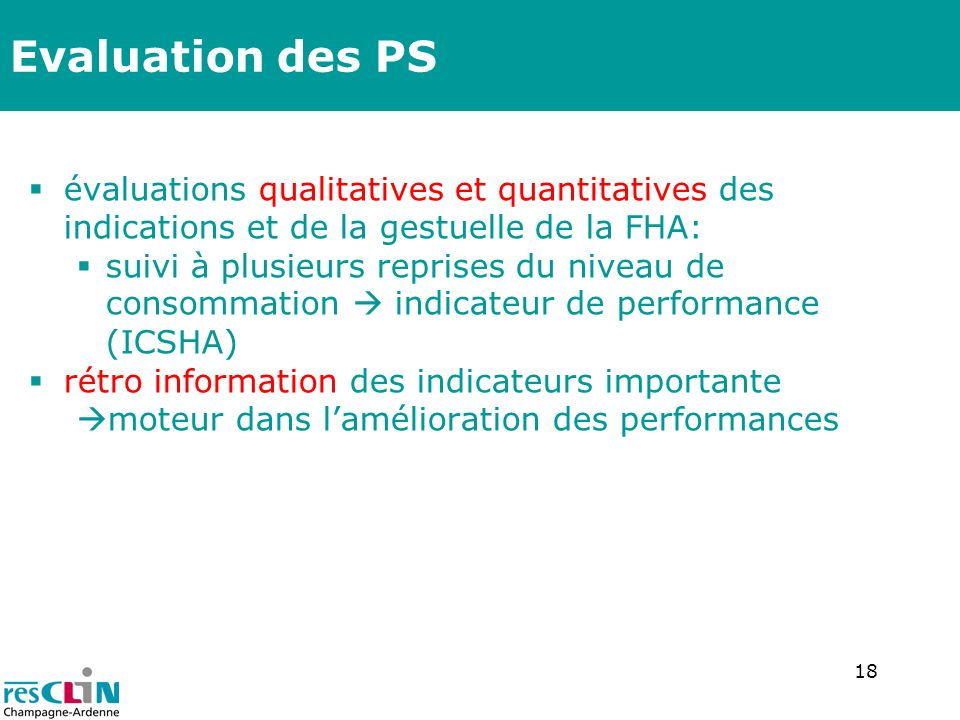 Evaluation des PS évaluations qualitatives et quantitatives des indications et de la gestuelle de la FHA: