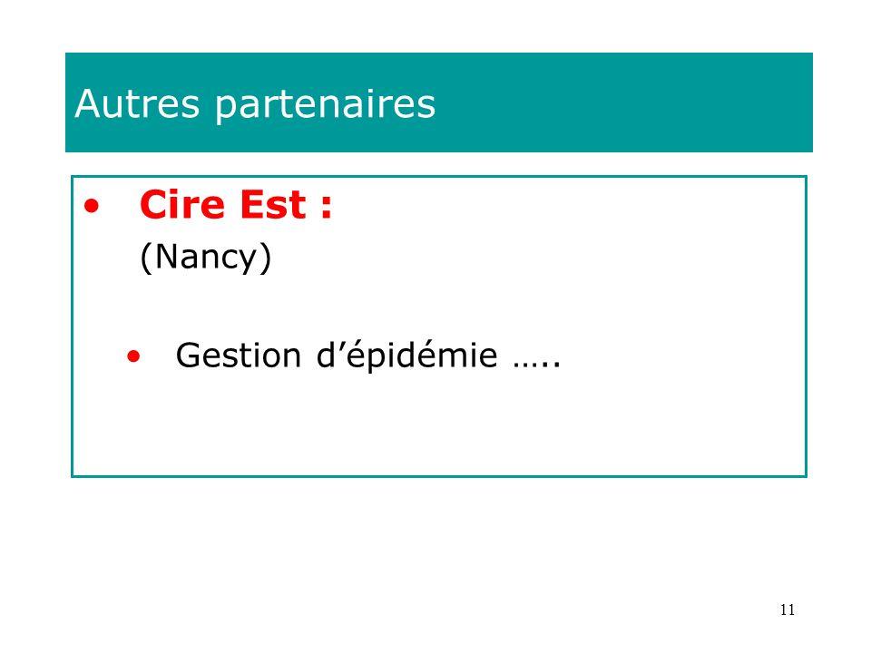 Autres partenaires Cire Est : (Nancy) Gestion d'épidémie …..