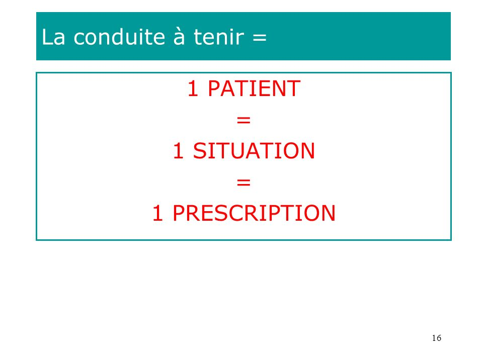 La conduite à tenir = 1 PATIENT = 1 SITUATION 1 PRESCRIPTION