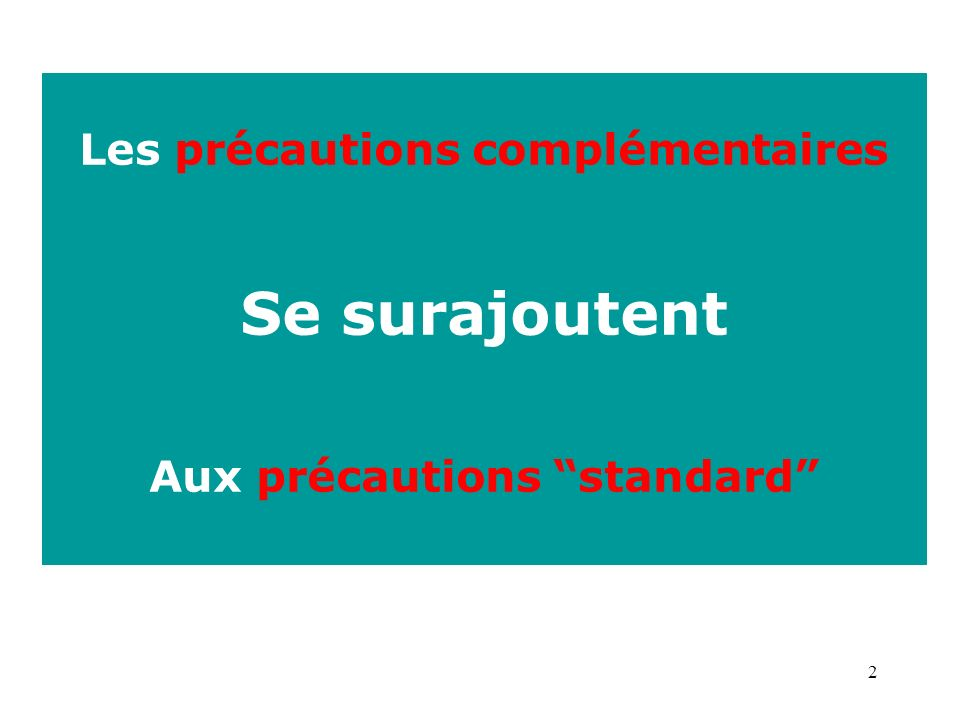 Les précautions complémentaires Aux précautions standard