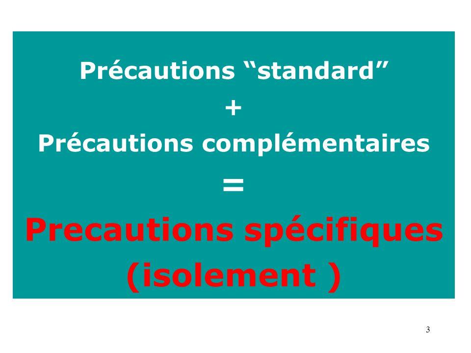 = Precautions spécifiques (isolement )