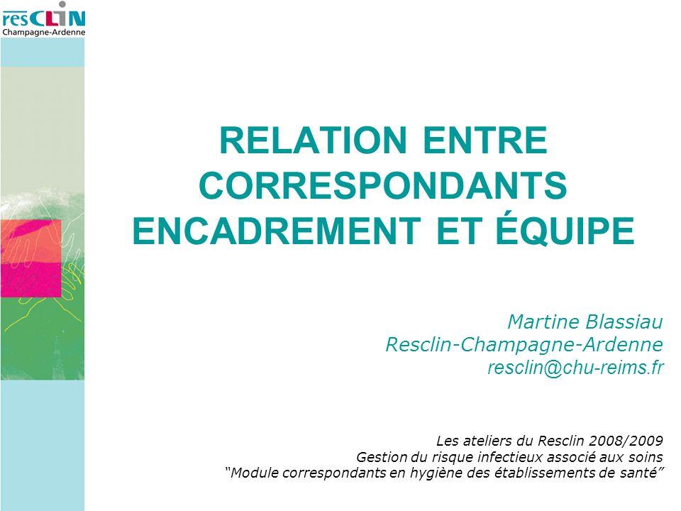 RELATION ENTRE CORRESPONDANTS ENCADREMENT ET ÉQUIPE