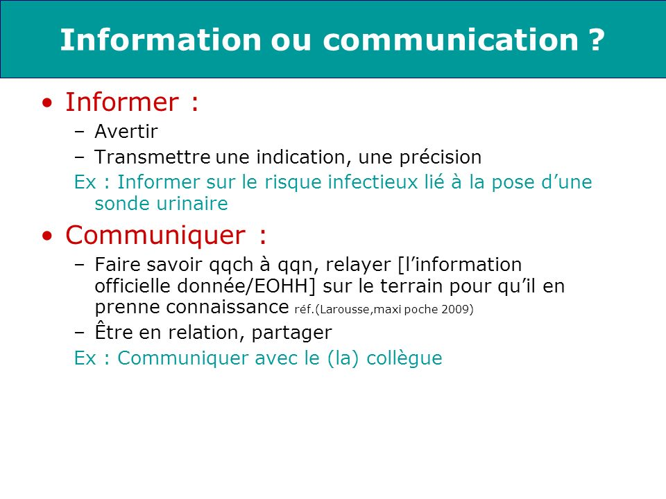 Information ou communication