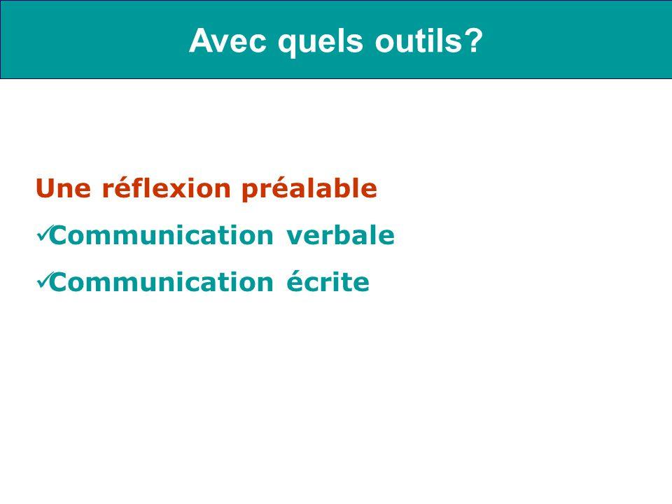 Avec quels outils Une réflexion préalable Communication verbale