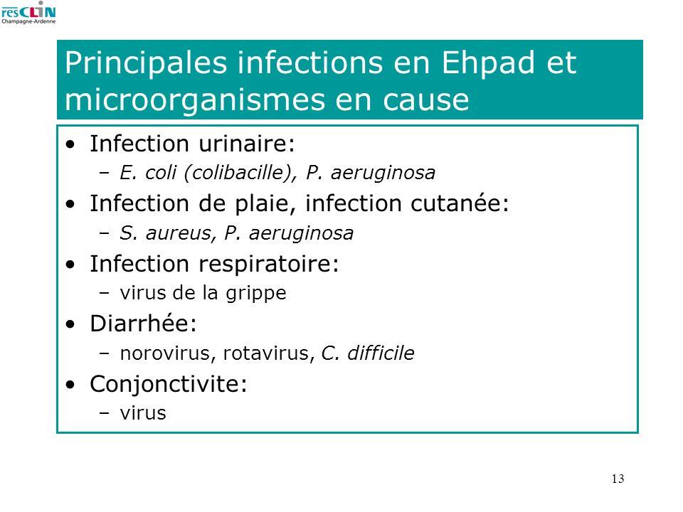 Principales infections en Ehpad et microorganismes en cause