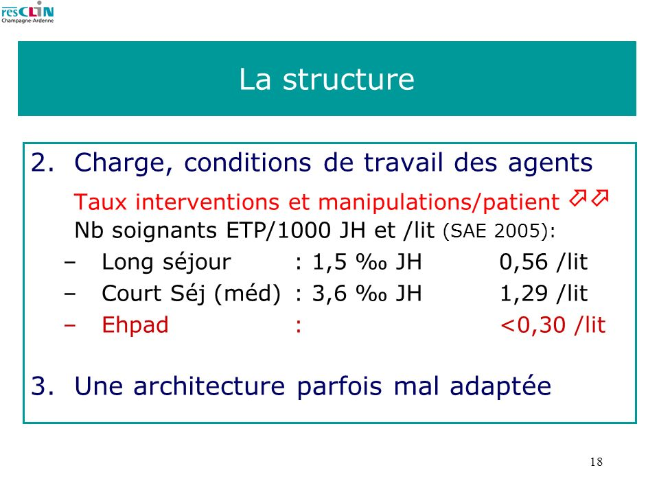 La structure Charge, conditions de travail des agents