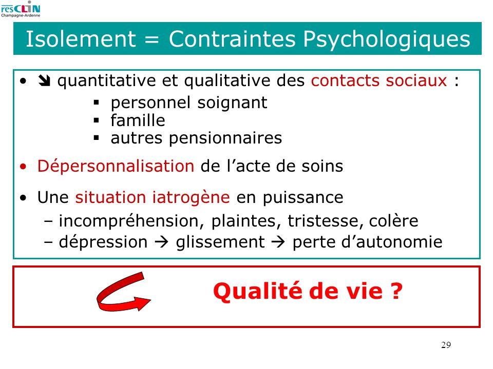 Isolement = Contraintes Psychologiques