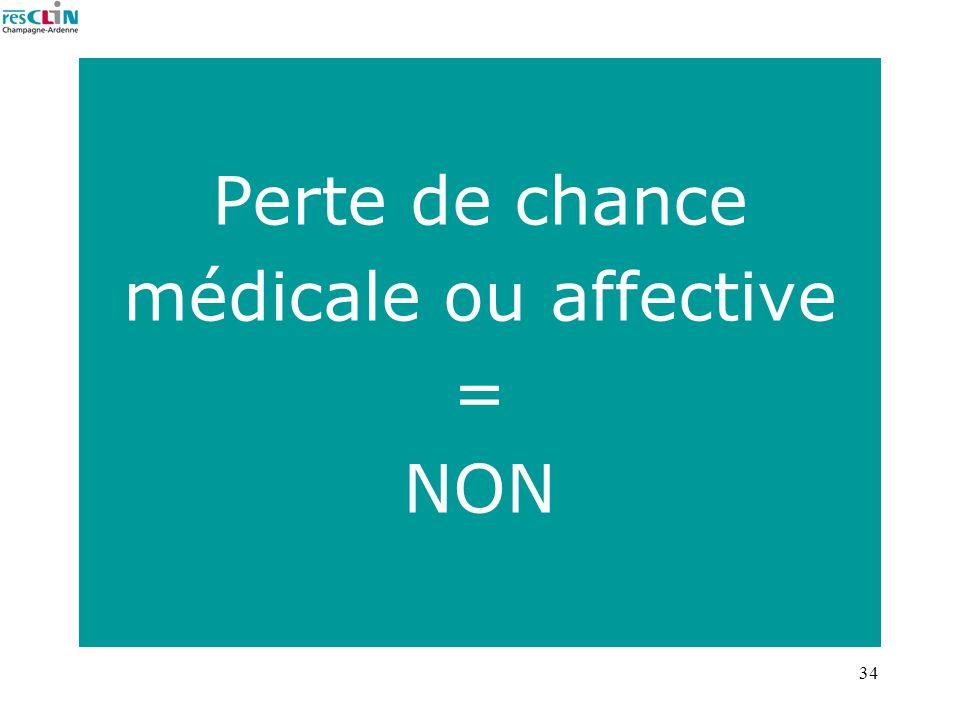 Perte de chance médicale ou affective = NON