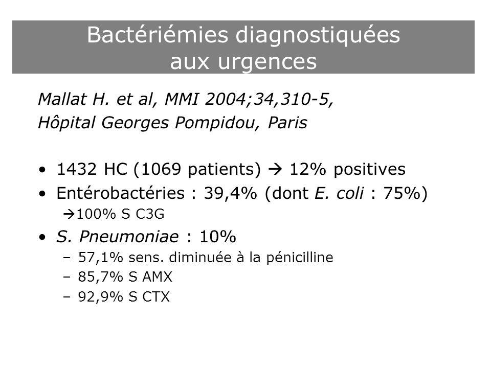 Bactériémies diagnostiquées aux urgences