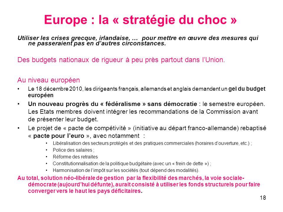 Europe : la « stratégie du choc »