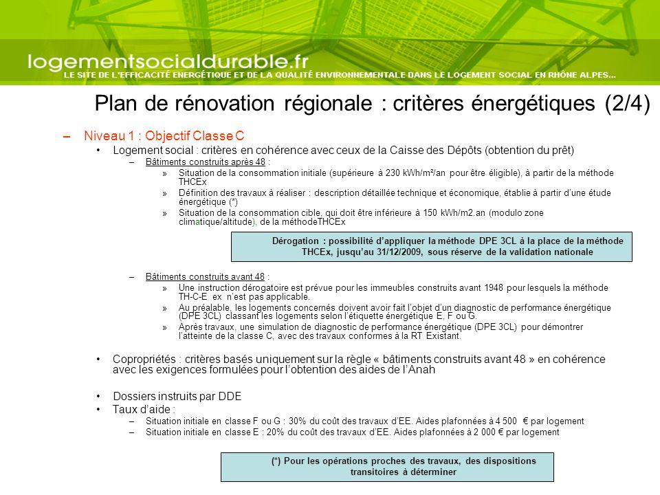 Plan de rénovation régionale : critères énergétiques (2/4)
