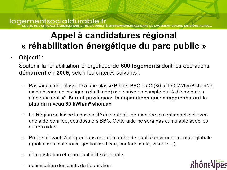 Appel à candidatures régional « réhabilitation énergétique du parc public »