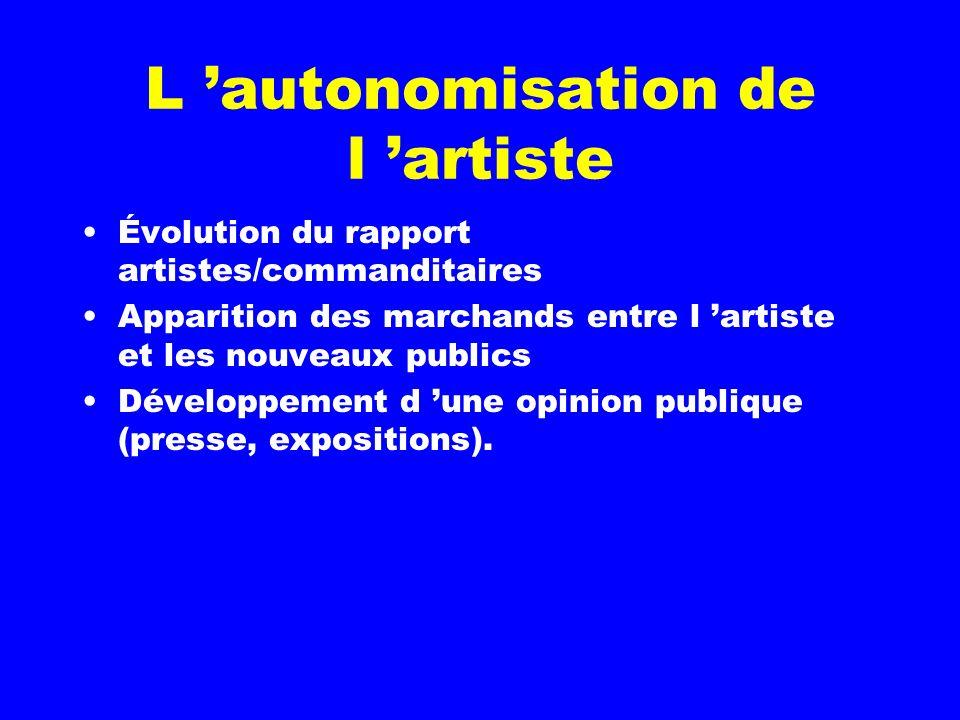 L 'autonomisation de l 'artiste