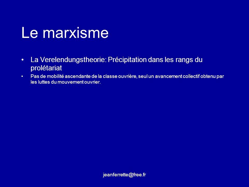 Le marxismeLa Verelendungstheorie: Précipitation dans les rangs du prolétariat.