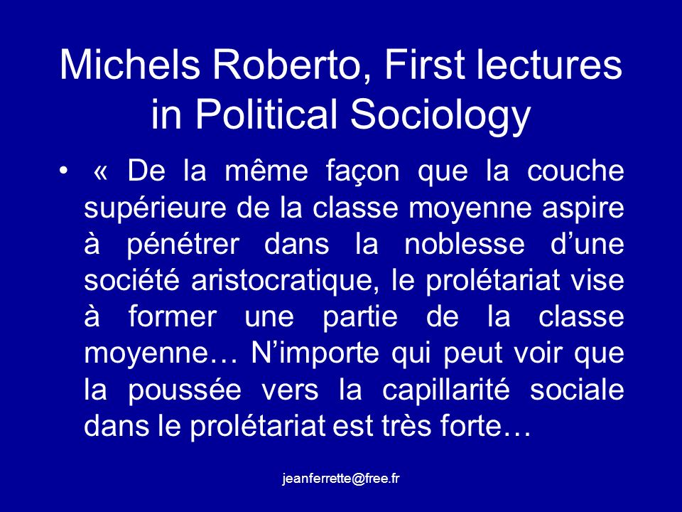 Michels Roberto, First lectures in Political Sociology
