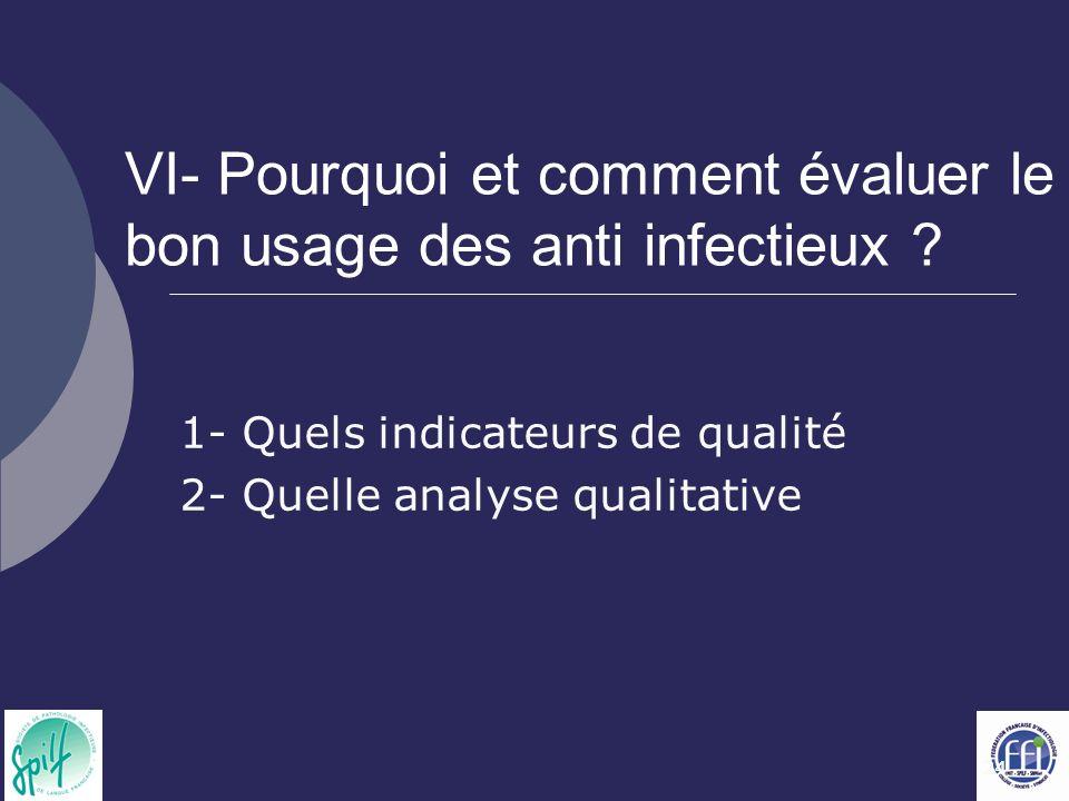 VI- Pourquoi et comment évaluer le bon usage des anti infectieux