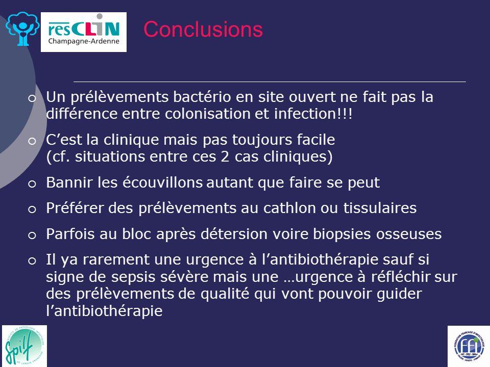 Conclusions Un prélèvements bactério en site ouvert ne fait pas la différence entre colonisation et infection!!!