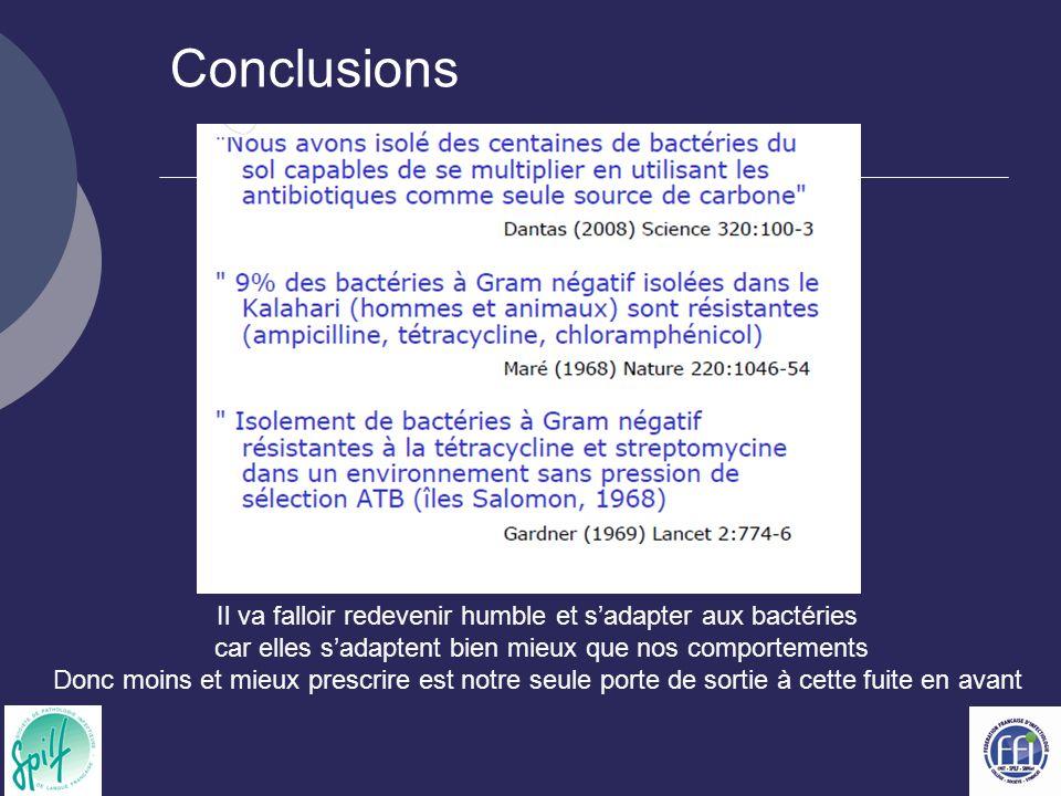Conclusions Il va falloir redevenir humble et s'adapter aux bactéries