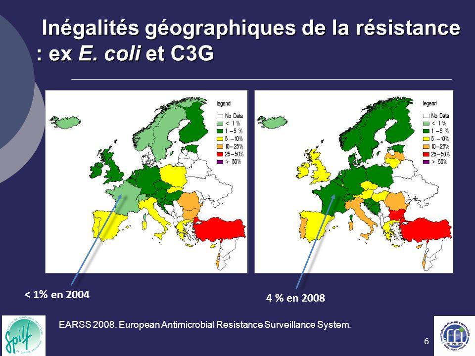 Inégalités géographiques de la résistance : ex E. coli et C3G