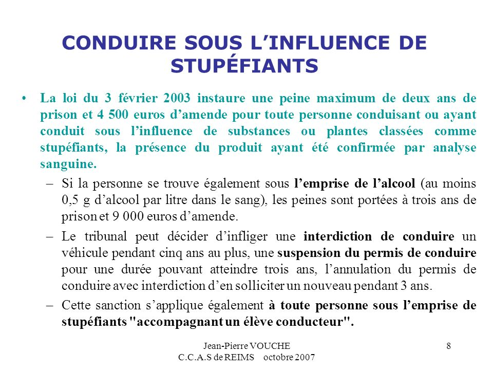 conduire sous influence