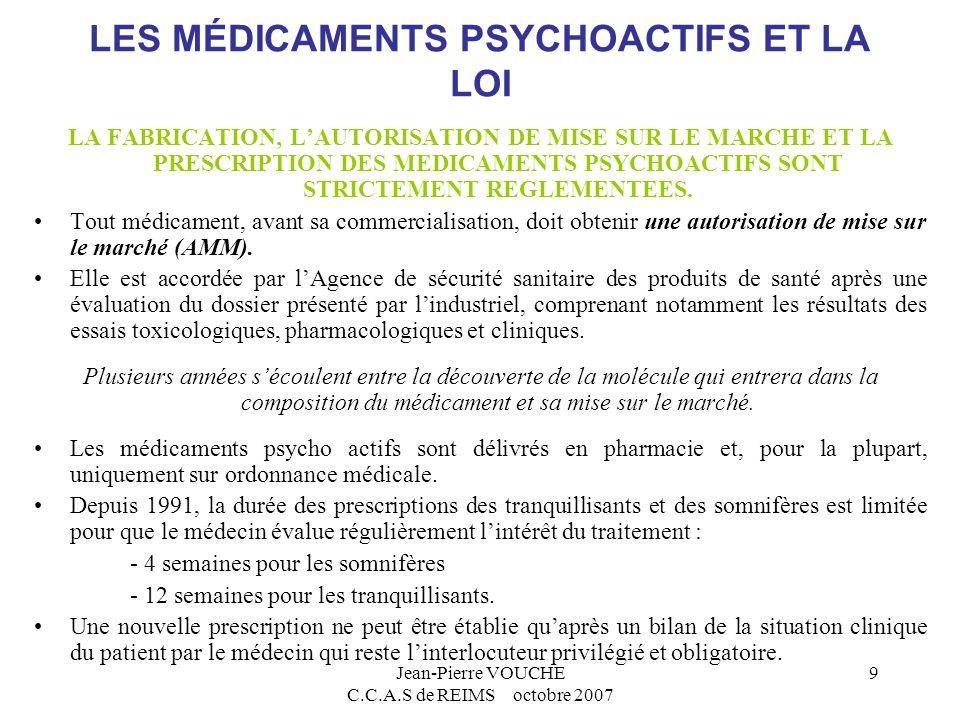 LES MÉDICAMENTS PSYCHOACTIFS ET LA LOI