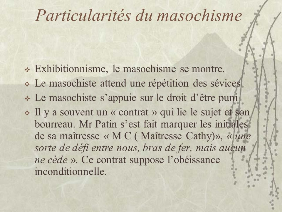 Particularités du masochisme