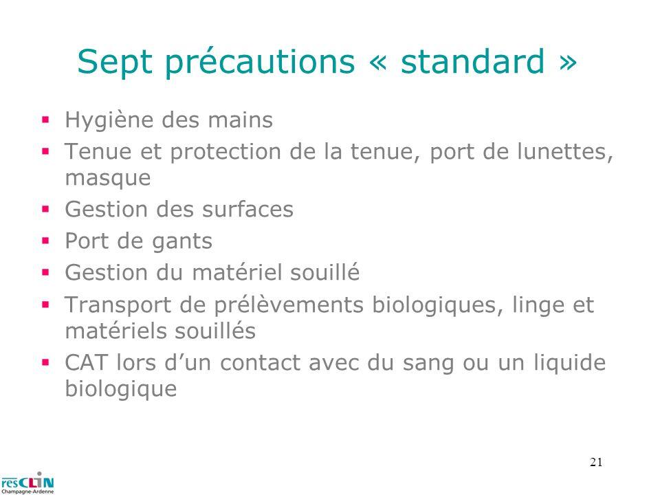 Sept précautions « standard »