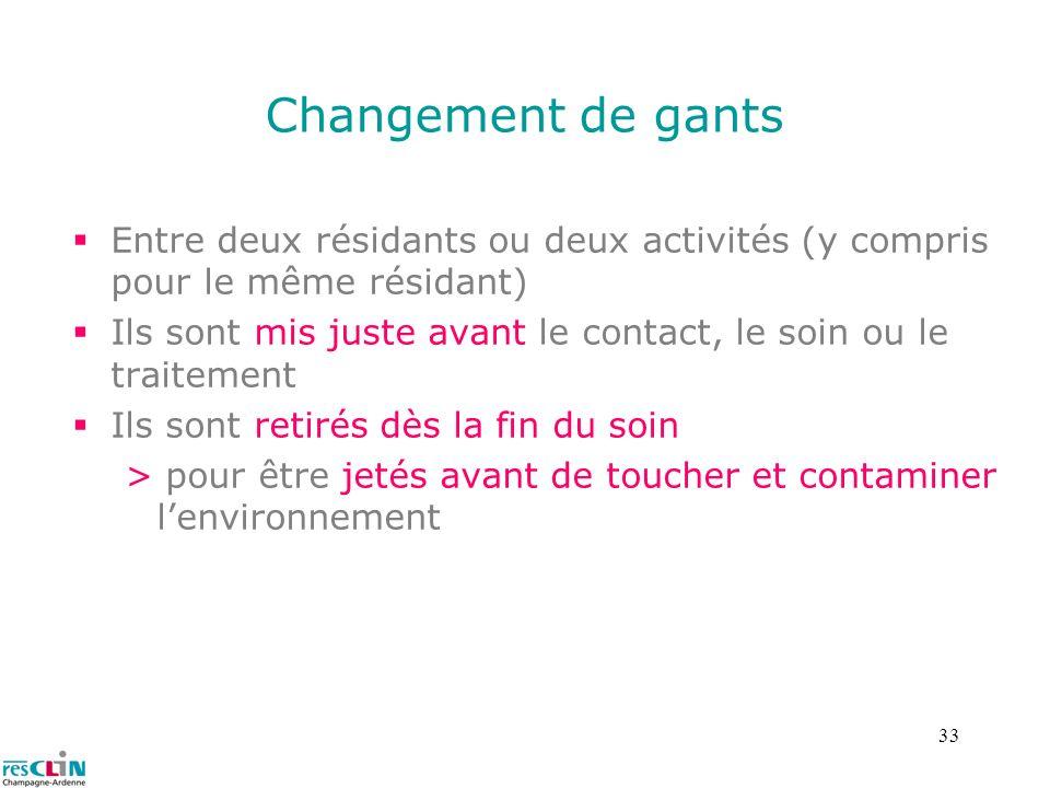 Changement de gants Entre deux résidants ou deux activités (y compris pour le même résidant)