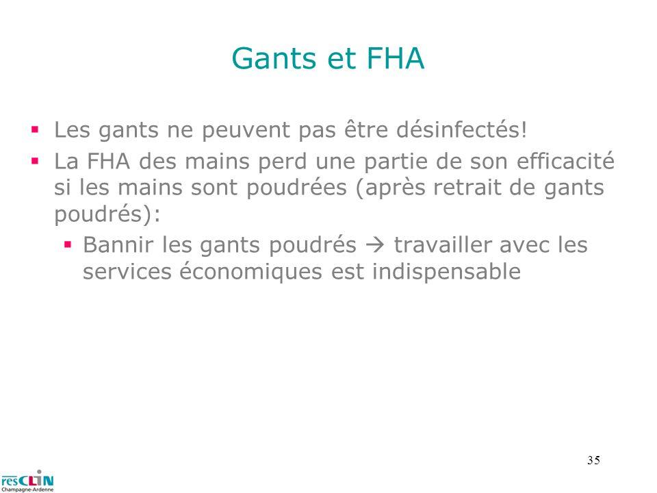 Gants et FHA Les gants ne peuvent pas être désinfectés!
