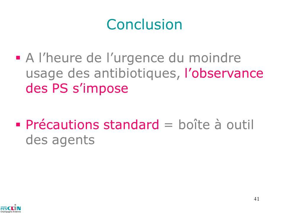 Conclusion A l'heure de l'urgence du moindre usage des antibiotiques, l'observance des PS s'impose.