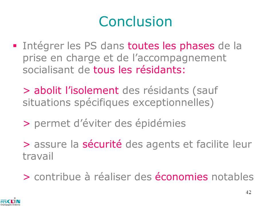 Conclusion Intégrer les PS dans toutes les phases de la prise en charge et de l'accompagnement socialisant de tous les résidants: