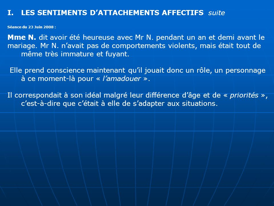 LES SENTIMENTS D'ATTACHEMENTS AFFECTIFS suite