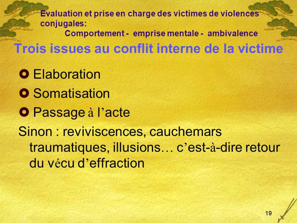 Trois issues au conflit interne de la victime