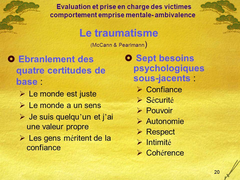 Le traumatisme (McCann & Pearlmann)