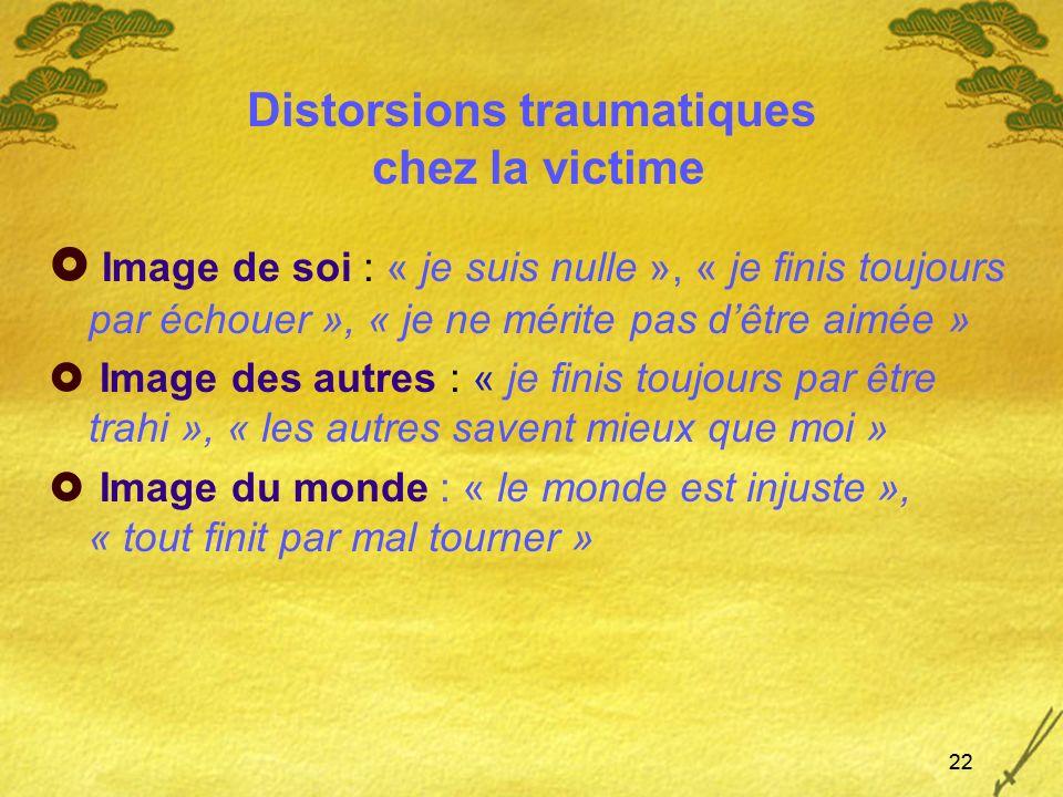Distorsions traumatiques chez la victime