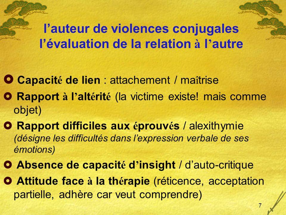 l'auteur de violences conjugales l'évaluation de la relation à l'autre