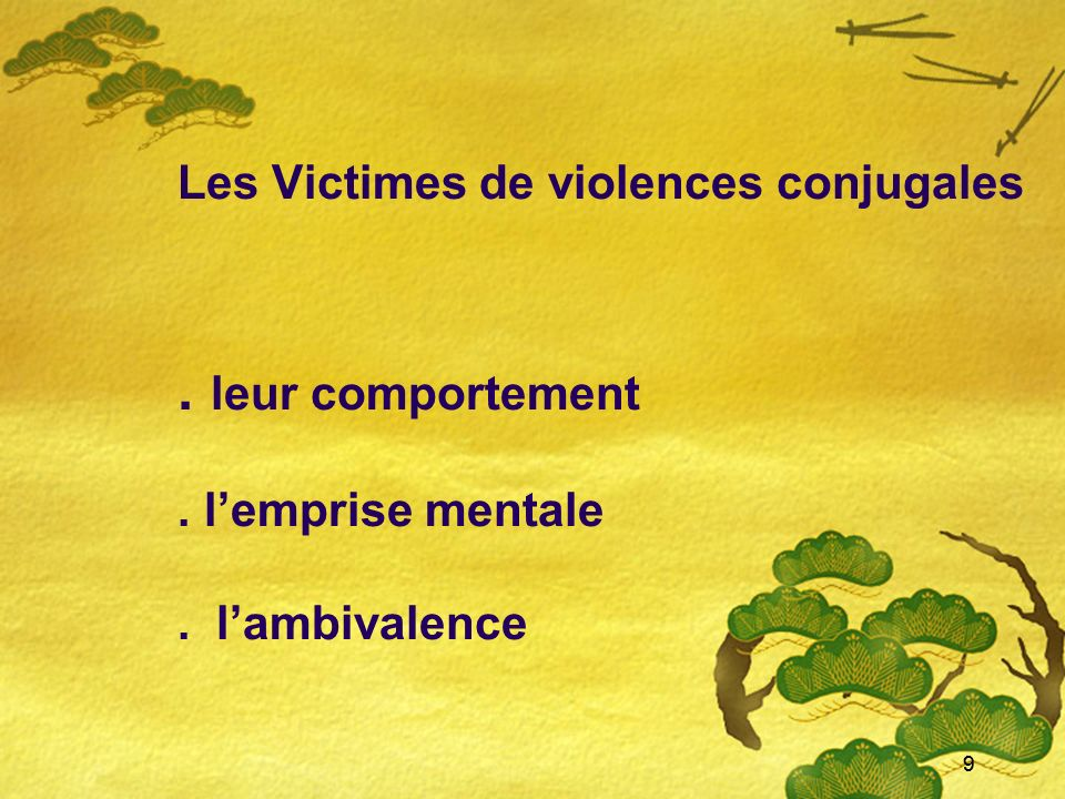 Les Victimes de violences conjugales. leur comportement