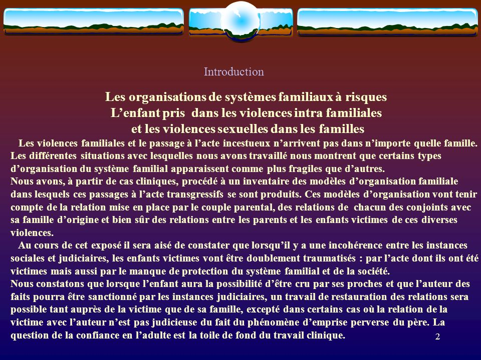 Les organisations de systèmes familiaux à risques