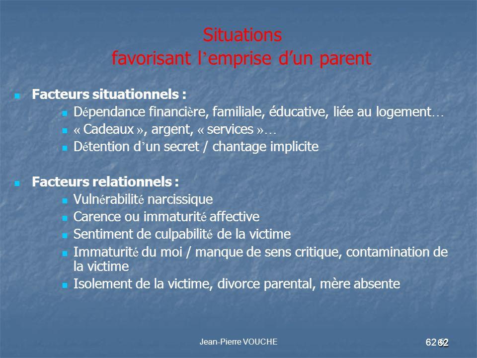 Situations favorisant l'emprise d'un parent