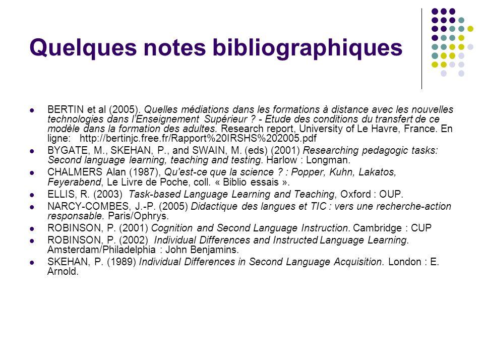 Quelques notes bibliographiques