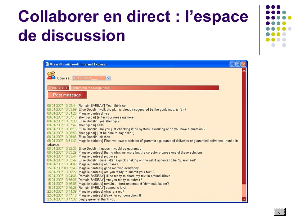 Collaborer en direct : l'espace de discussion