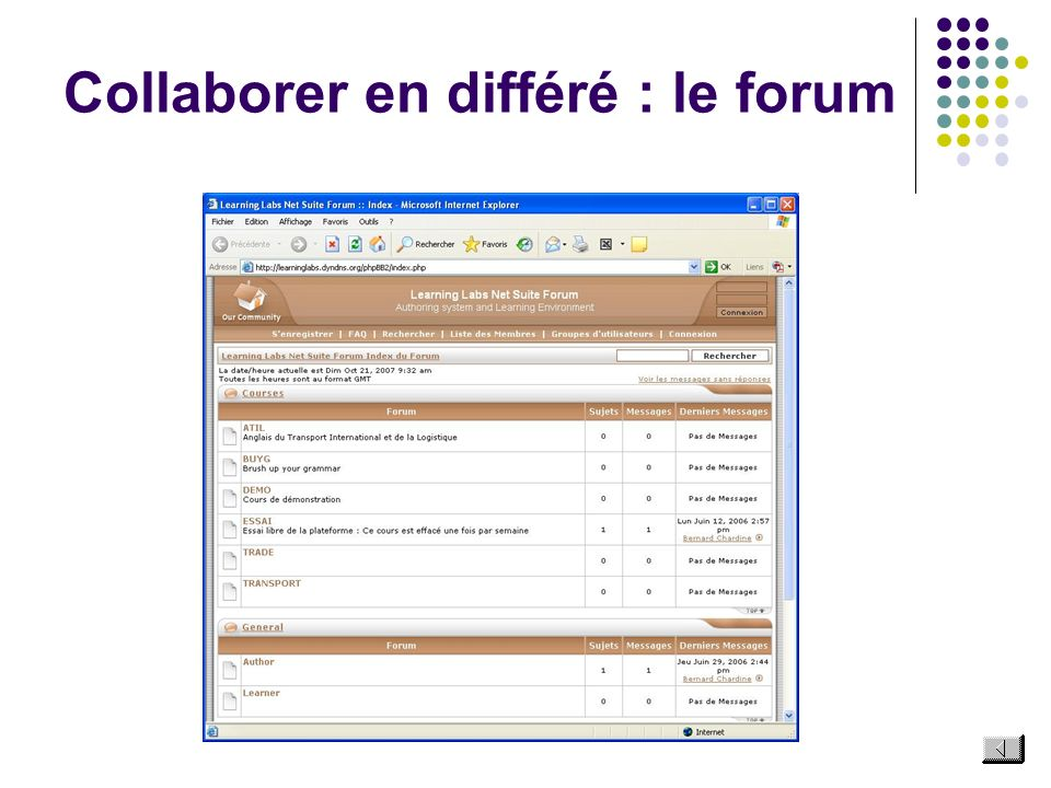 Collaborer en différé : le forum